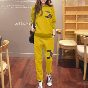 Image 3 - S 6XL Womens Sportswear Tracksuits Spring 2020 Autumn Winter Casual Plus Velvet Thick Sweatshirt + Pants Sets Female Plus Size