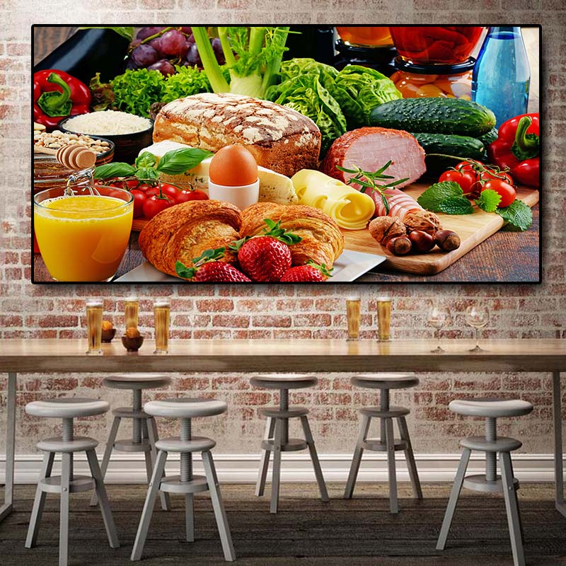 64x127cm Bread Fruits Kitchen Vegetables Canvas Painting Cuadros Restaurant Posters and Prints Wall Art Food Picture Living Room|Painting & Calligraphy|   - title=