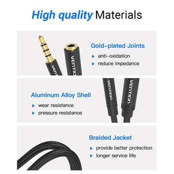 Vention Jack 3.5 Aux Extension Cable for Car Laptop Mini PC TV Xiaomi Huawei Stereo 3.5 mm Jack Headphone Speaker Cable Auxiliar 6