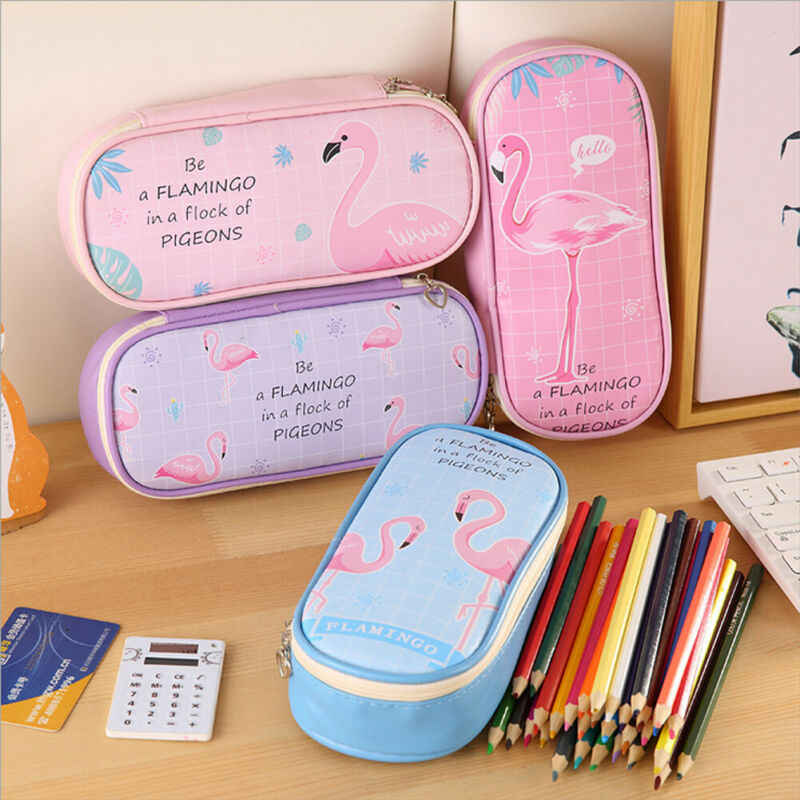 PU Cosmetic Bags Travel Makeup Bag Female Zipper Pencil Case School Large Capacity Pen Stationery Bags Flamingo Print Cases