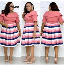 formal knee length dress autumn sexy fashion style african women printing plus size knee-length rainbow color short sleeve