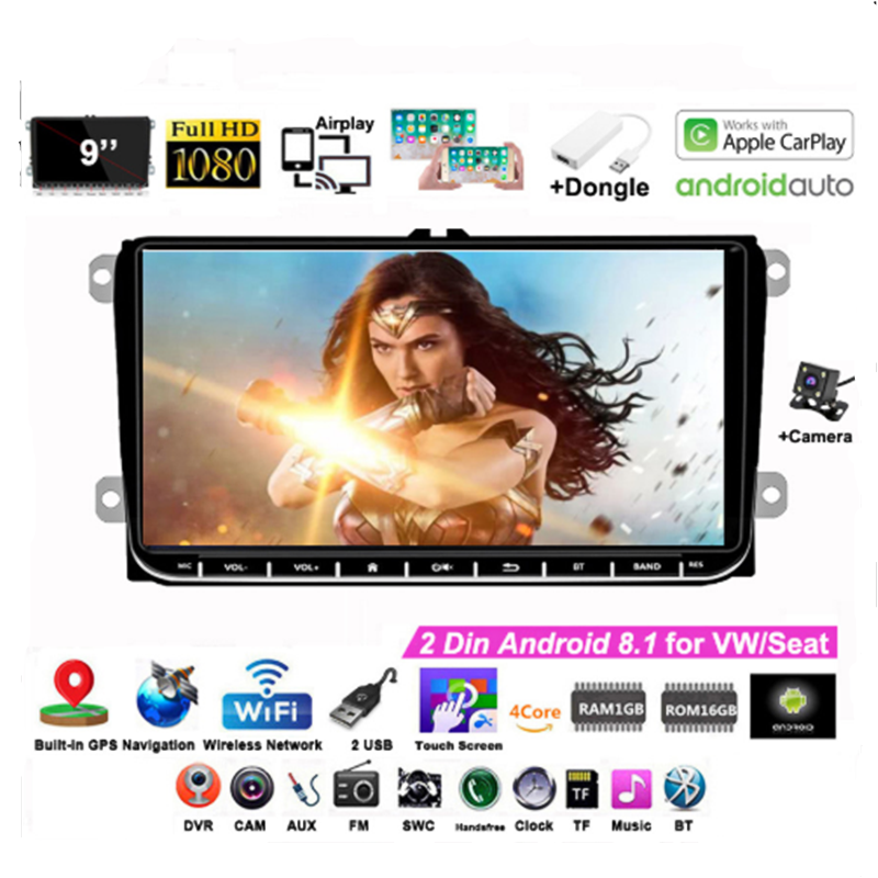 For Android 9''2Din Car Radio For VW/Seat+Carplay GPS Airplay Wifi For Skoda Passat B6 Polo Golf 4 5 Touran Seat Rear Camera