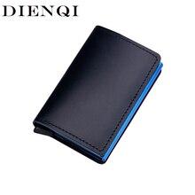 DIENQI Rfid Card Holder Men Wallets Genuine Leather Money Ba