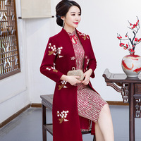 Autumn And Winter Chinese Traditional Women 2 Pcs Qipao Wool Cotton Cheongsam Novelty Chinese Formal Dress Size M L XL XXL