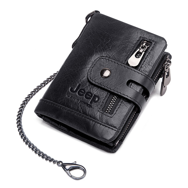 100% Cowhide Genuine Leather Men Wallet Coin Purse Small Mini Card Holder Chain PORTFOLIO Portomonee Male Walet Pocket Chain 2