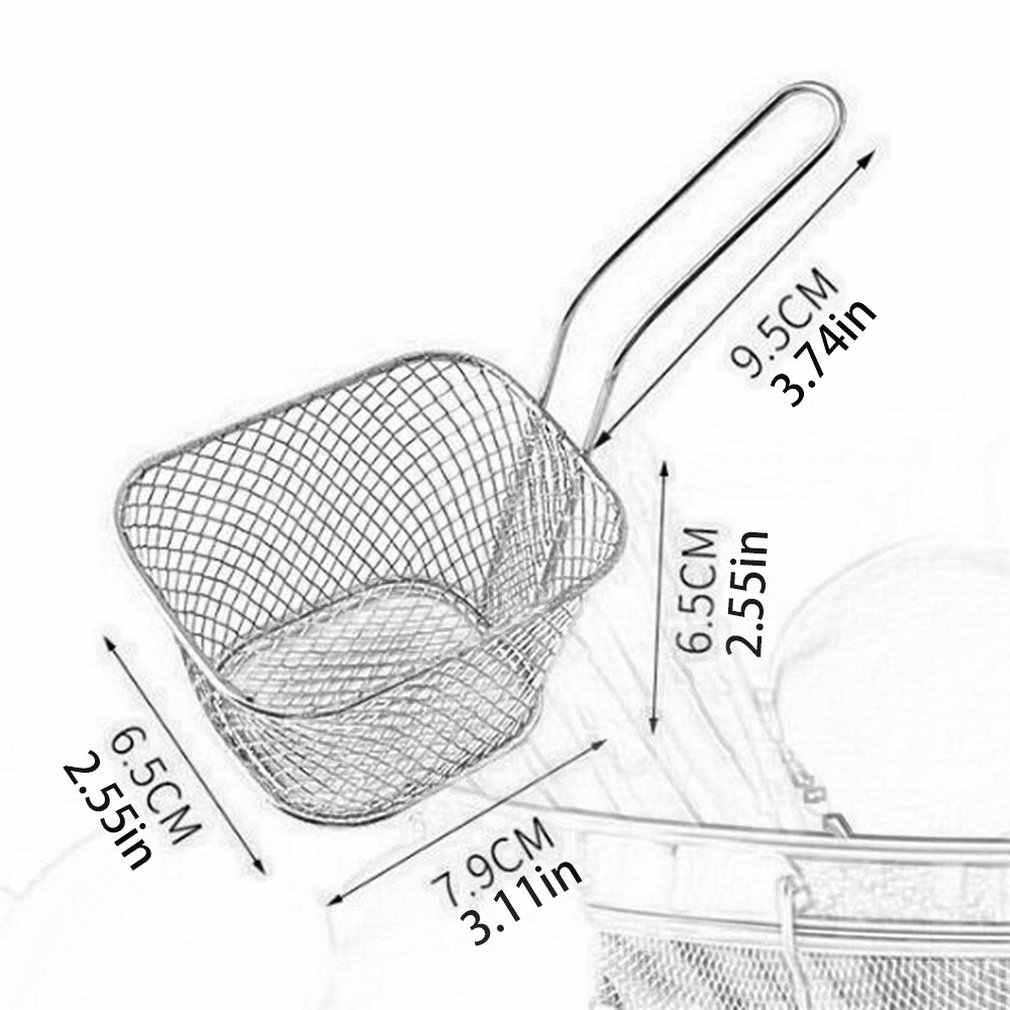 미니 스테인레스 스틸 프렌치 프라이 그물 프라이 프라이 바구니 작은 사각형 모양 프렌치 프라이 바구니 스트레이너 주방 요리 도구