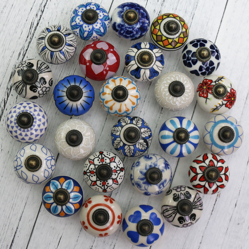 1x Vintage Flower Painted Ceramic Knobs And Handles Cupboard Door Drawer Kitchen Pull Knob Furniture Hardware