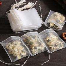 50/100 pçs/lote teabags de grau alimentício vazio scented sacos de chá com corda curar selo filtro de papel para ervas solto chá sacos
