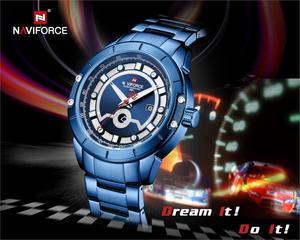 Image 2 - Relojes deportivos para hombre de marca de moda NAVIFORCE, relojes de pulsera militares de acero inoxidable de cuarzo para hombre, reloj Masculino