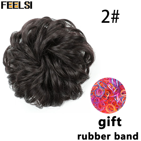 FEELSI синтетические гибкие волосы булочки кудрявые резинки шиньон эластичные грязные волнистые резинки для наращивания конского хвоста для женщин - Цвет: 1B/27HL