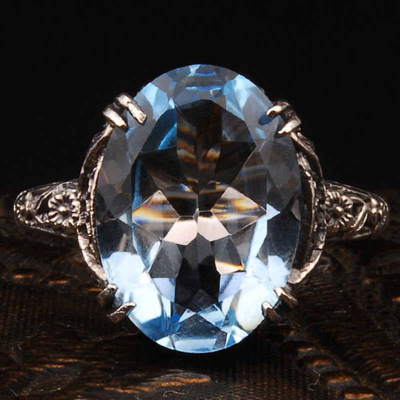 Silver 925 Super Large Elliptic Crystal Deluxe Ring with Zircon Lady Ring Dance/Leisure Jewelry Fashion Gift Elegant women ring