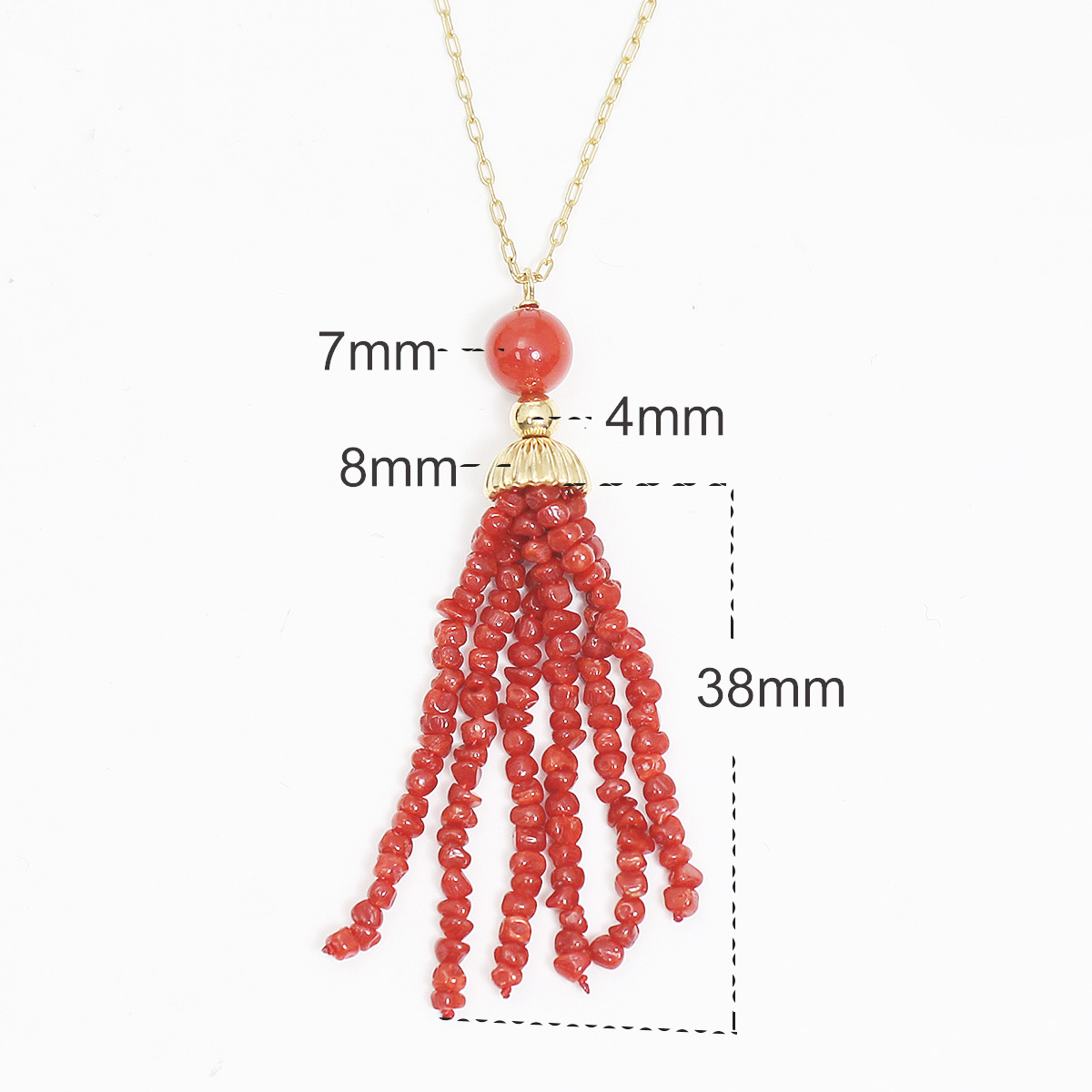 Beadsnice Gold Filled Necklace With Red Coral Dangle Dainty Jewelry Wedding Gift Best Gift For Her 39765 in Pendant Necklaces from Jewelry Accessories