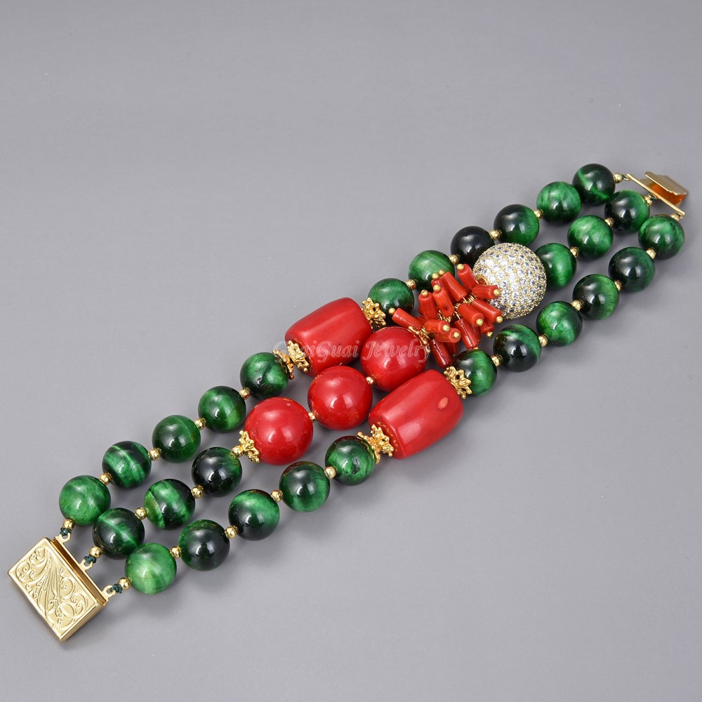 "GG Jewelry 8"" 3 Strands Green Tigers eye Red Coral Cz pave beads Bracelet"