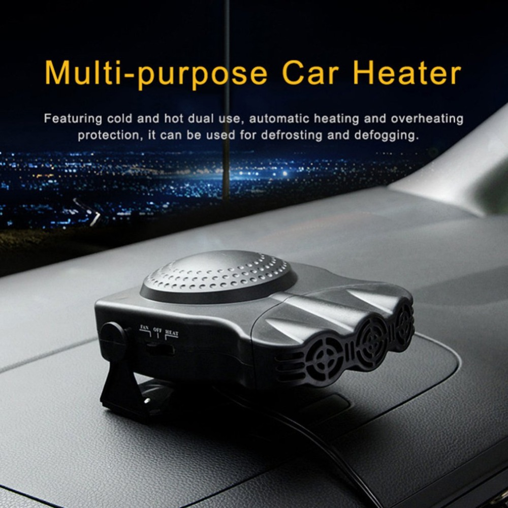 12V/24V Portable Car Multi-function Heater Three-hole Defrost Defogging Heater Heating & Cooling Fan 180 Rotation image