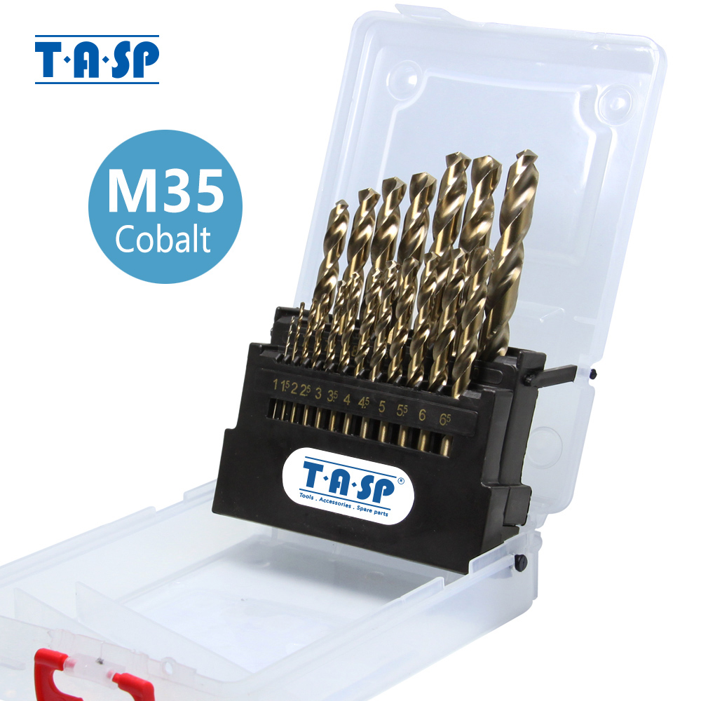 TASP 19pcs HSS M35 Contain 5% Cobalt Drill Bit Set 1.0~10mm For Stainless Steel Metal & Wood With Storage Box Tools Accessories