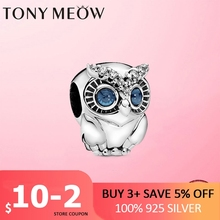Silver Owl Charm Real 925 Sterling Silver Dazzling Blue CZ Owl Beads Charm fit Pan Charms Silver 925 Original jewellery