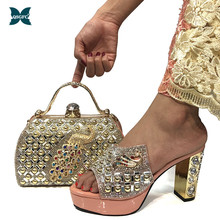 Bag Matching Shoes Crystal Peach-Color Italian And To Party with Shinning Bag-Set