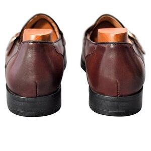 Image 5 - Cuir véritable hommes chaussures décontractées marron bleu couleur bureau affaires Oxford Double boucle sangle italie Style chaussure