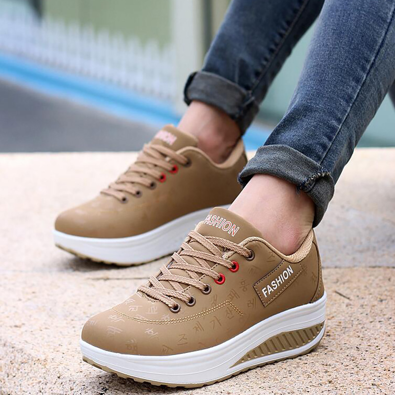 Women Casual Shoes Plus size 35-43 Fashion Dad Shoes Women Solid Lace Up Platform Sneakers Women Height Increasing Female sneake