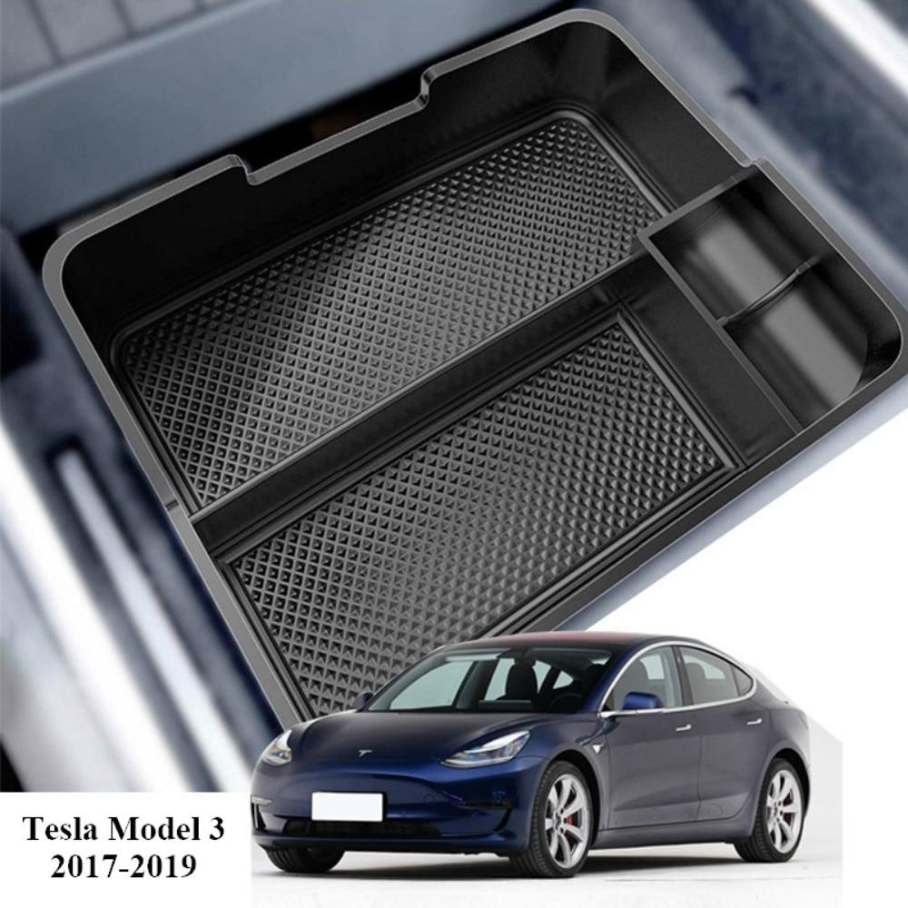 Boîte de rangement pour accoudoir Central de voiture | Accessoires auto Tesla modèle 3, boîte de rangement noir conteneur de gant Auto boîtier 2017 2018 2019