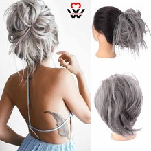 MANWEI for women Synthetic Messy Bun Tousled hairpiece Elastic Band Chignon hair Curly Scrunchie Updo Cover Hairpiece
