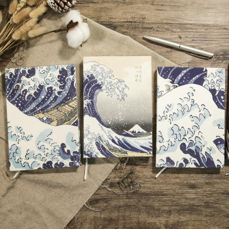 The Great Wave Off Kanagawa Cloth Notebook A5 Vintage Literary Notepad 1PCS
