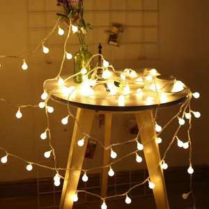 LED Round Ball Lights String Festival Decoration Battery Powered For Outdoor Ambiance Lighting For Patio Halloween Thanksgiving