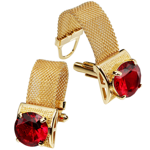 Image 2 - HAWSON Mens Cufflinks with Chain   Stone and Shiny Gold Tone Shirt Accessories   Party Gifts for Young Men