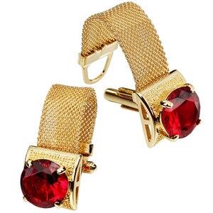 Image 2 - HAWSON boutons de manchette pour hommes avec chaînes, pierres en or brillant et accessoires de chemise, cadeaux de fête pour jeunes hommes