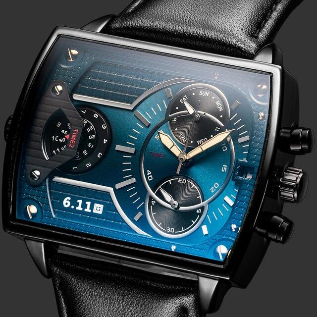 6,11 мужские часы DUANTAI с кожаным ремешком, квадратные Кварцевые водонепроницаемые мужские часы из натуральной кожи, синие повседневные часы Reloj Hombre