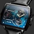 6.11 duantai relógio masculino de couro quadrado quartzo relógios masculinos à prova dwaterproof água couro genuíno azul casual reloj hombre
