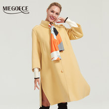 MIEGOFCE 2019 high quality autumn winter double sided cashmere women cashmere wool jacket 2019 New fashion Long loose wool coat(China)