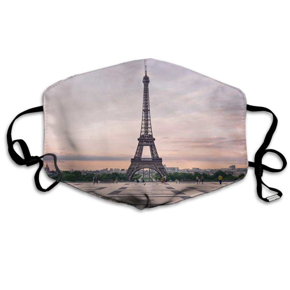 Swono Mask Eiffel Tower,France Paris Trocadero And Eiffel Tower At Sunshine Polyester Anti Dust Face Mask-Washable And Reusable