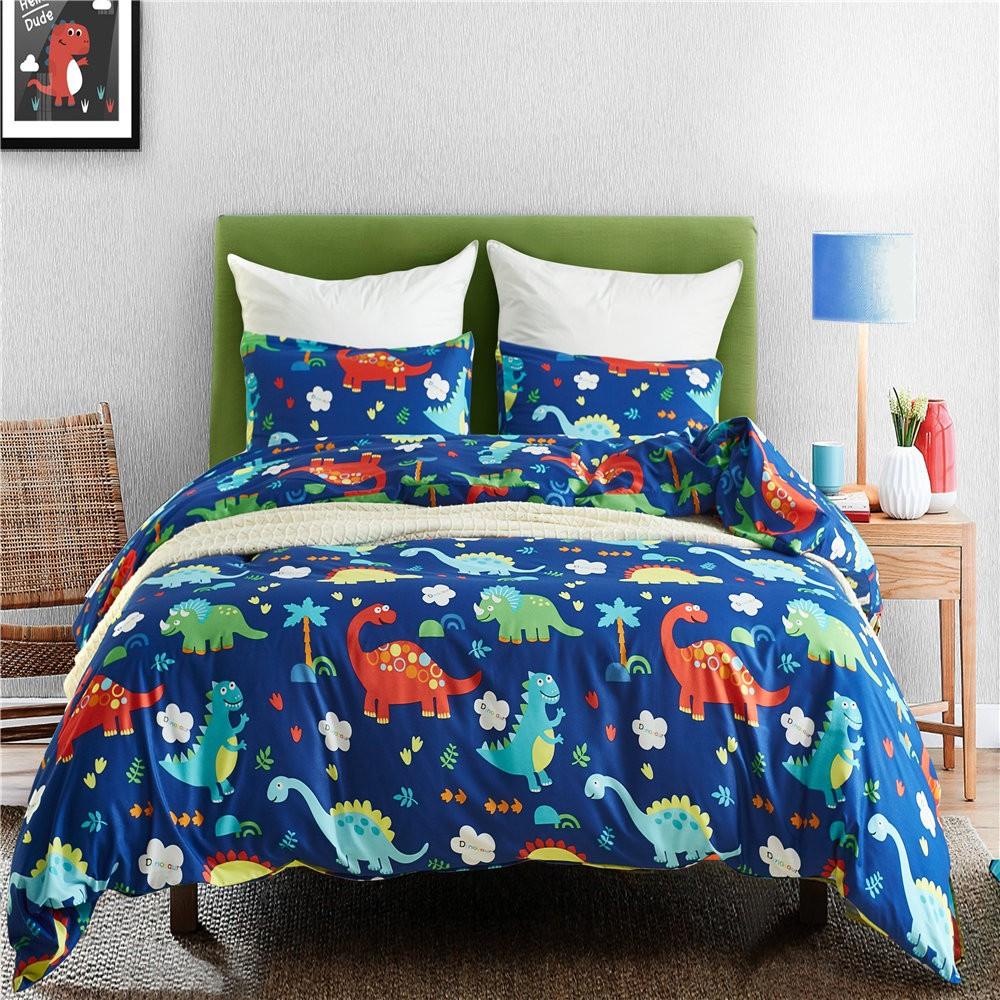 Bedding Set Dinosaur Land Cartoon Blue Duvet Cover Pillowcase 3PCS Home Textiles