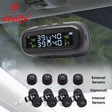 Deelife tpms solar sensor de pressão dos pneus sistema de monitoramento pneus externo sensores internos do carro tmps