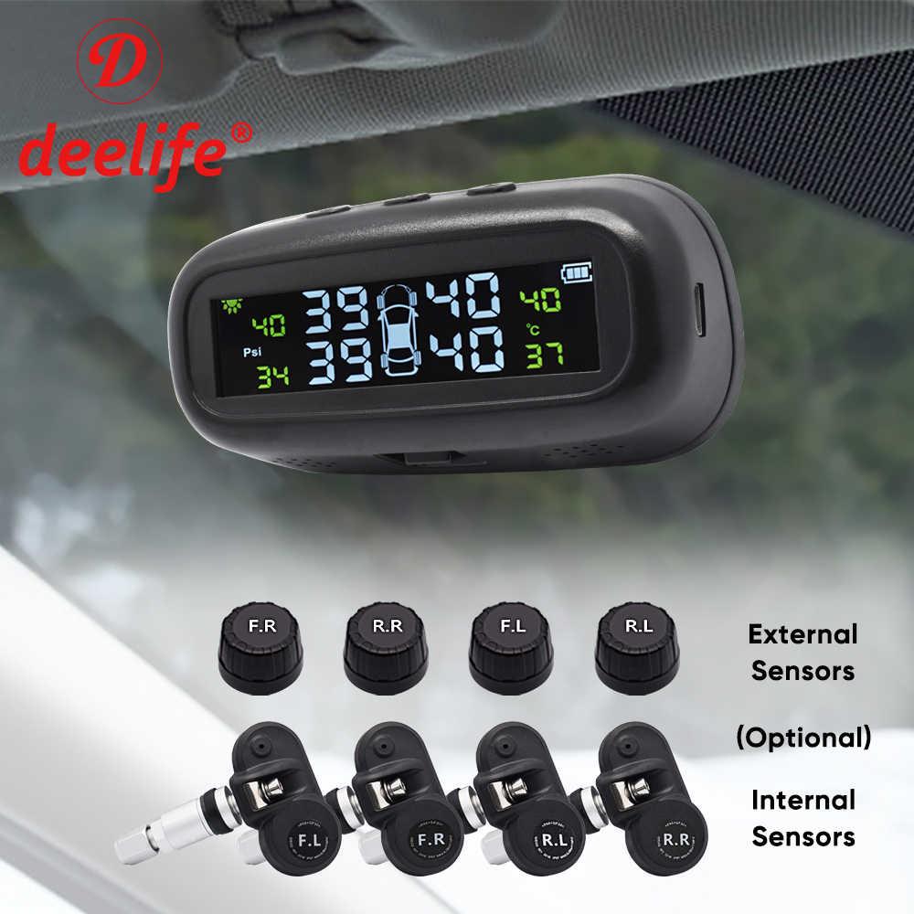 Deelifeタイヤ空気圧センサーtpms車ソーラーモニターtmps制御タイヤ空気圧監視システムの外部内部センサー