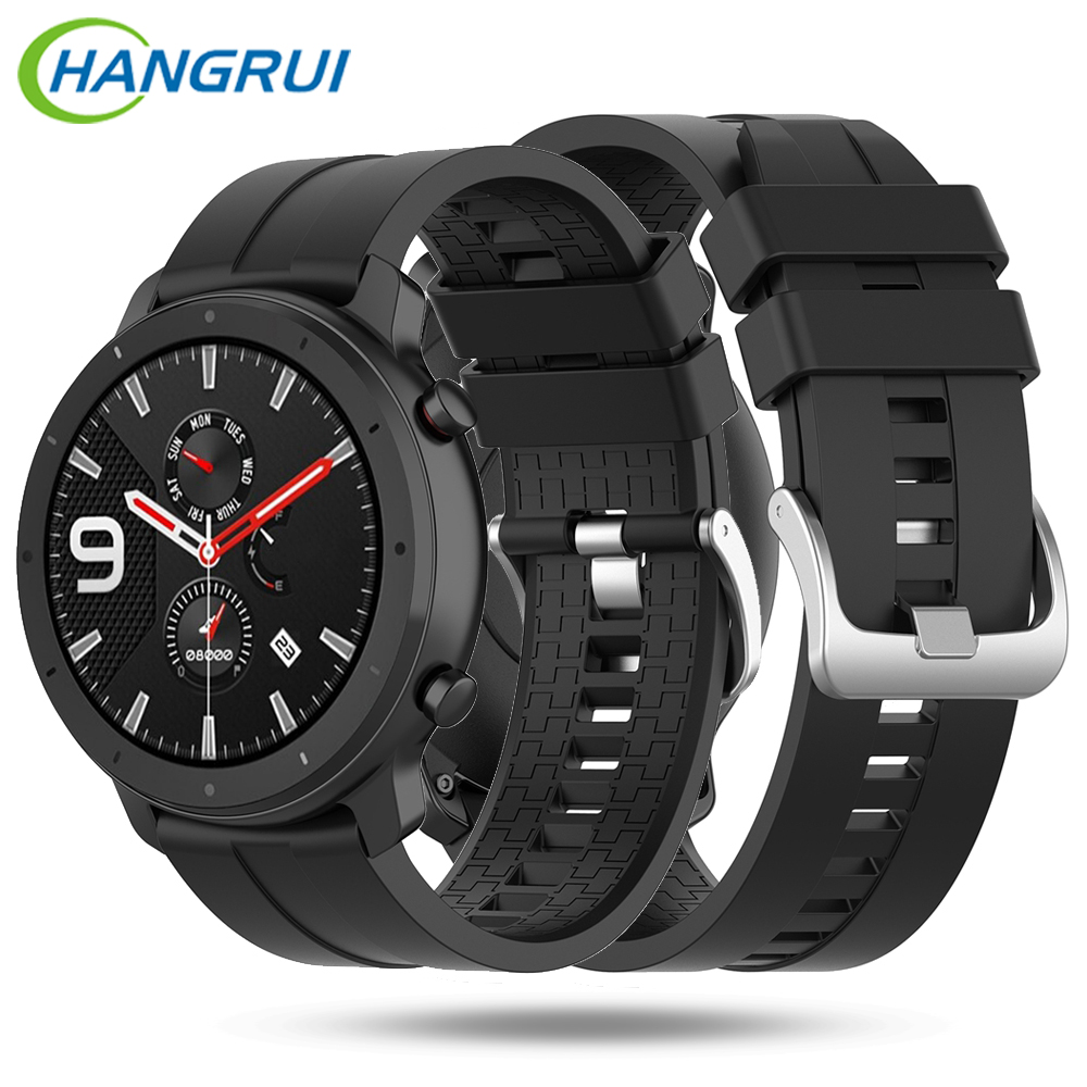 For Huami Amazfit GTR 47MM Silicone With Buckle Watch Strap Men Smart Sport Adjustable Watch Strap For Huawei GT Watch Band 22MM
