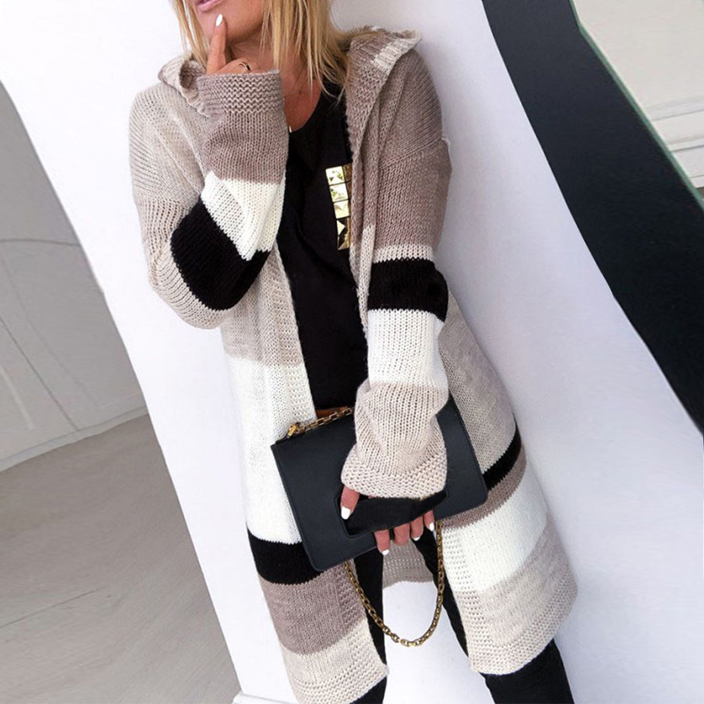 Patchwork Cardigan Women Sweater 2019 Autumn Winter New V-neck Long Sleeve Open Stitch Sweater Female Loose Knitted Coat