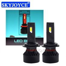 Skyjoyce 90w 10000lm f3 canbus led farol h4 h8 h11 9005 9006 h7 carro auto led lâmpada 6500k luz de nevoeiro brilhante rápido