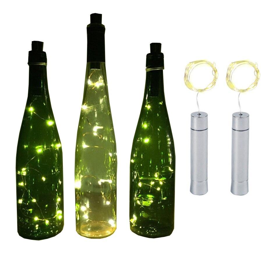 Thrisdar 10PCS 2M Wine Bottle String Light Copper Wire Bottle Cork Stopper Fairy Garland Light Bistro Party Wedding Bottle Light
