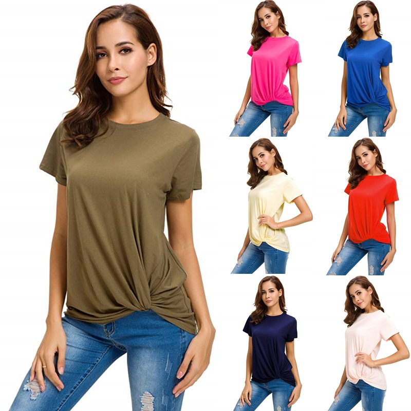 Daily Suit   OWLPRINCESS 2019 New Style Women's Dress Crew Neck Short-sleeved Top Solid Color Women's T-shirt Long Shirt