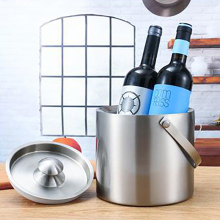 Stainless Steel 2/3L Bar Double Layer Beer Cooling Wine Round Ice Bucket Double Layer Insulation Portable Buckets Barrel