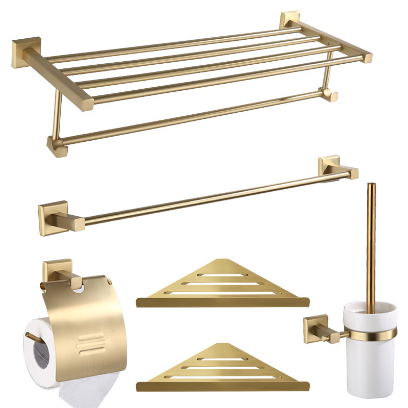 Solid Brass Bathroom accessories gold brushed towel shelf 60cm toilet paper holder ceramic toothbrush cup holder image