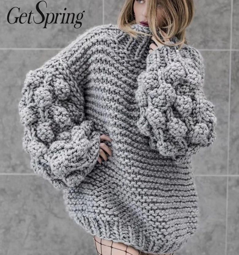 GETSPRING femmes pull o-cou à manches longues pulls pull gris rouge rose café tout Match haut tricot femmes 2019 nouvelle mode