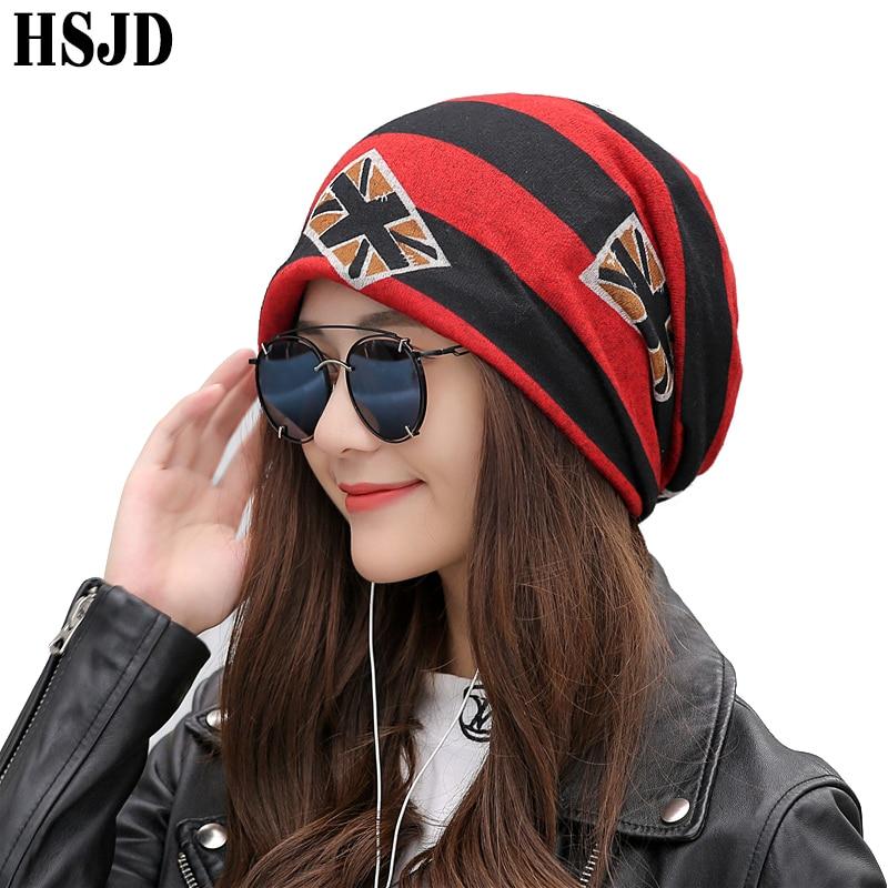 2019 Female Letter Hip Hop Hat Cotton Cap Punk Style Women's Skullies Hats Winter Warm Print Scarf Dual-Use Caps Multifunction