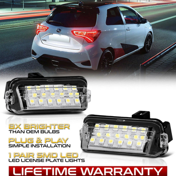цена на LED License Number Plate Light Lamps For Toyota Yaris Vitz Camry Hybrid Corolla Fielder Prius C Ractis Verso S Avensis Auris E18