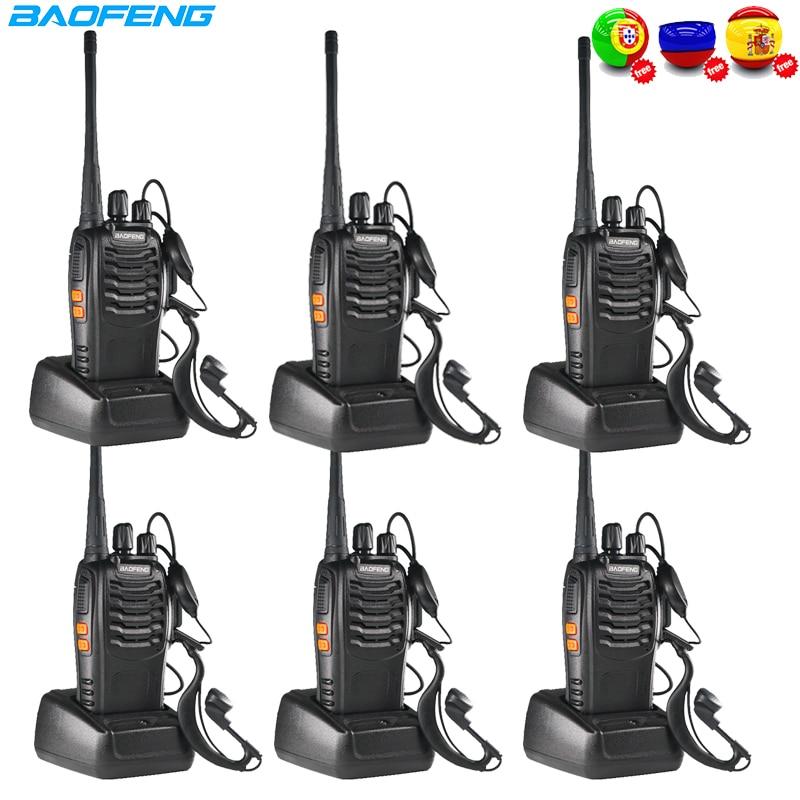 6pcs Baofeng BF888S Walkie Talkie 5W Two-way Radio FM Transceiver BF 888S Amateur Radio Handheld Ham Radio Transmitter BF-888S