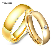 Engagement-Rings Couples Crystone Joyas-De-Wedding-Bands Gold-Tone Stainless-Steel Fashion