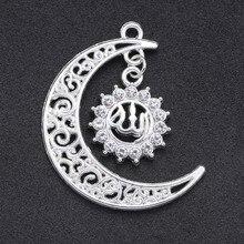 Juya – lot de 10 breloques musulmanes, couleur or/argent, croissant Allah, pour la fabrication de bijoux religieux islamiques, vente en gros