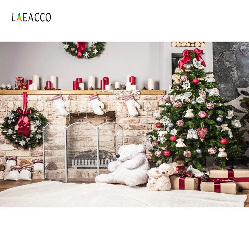 Laeacco Weihnachten Baum Hause Dekoration Kamin Szene Fotografie Hintergründe Vinyl Neue Jahr Kulissen Für Foto Studio Requisiten